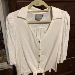 Anthropologie White Mixed Media Shirt with Tie